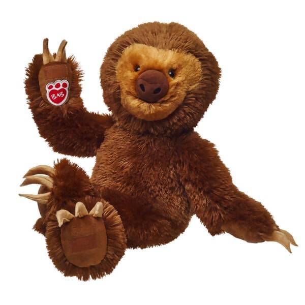 plush sloth stuffed animal sitting and waiving