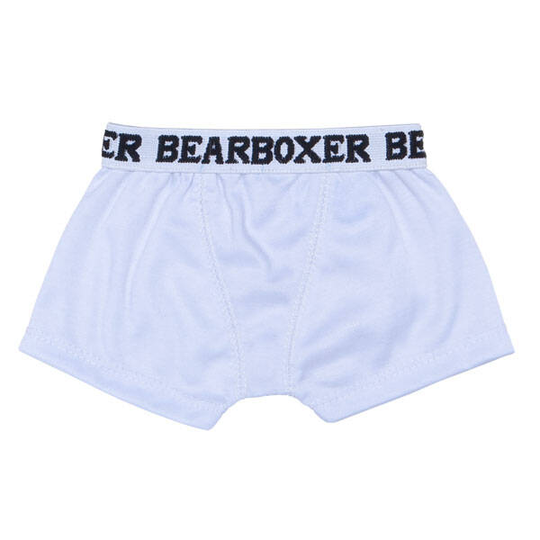 Add a pair of teddy bear size white knit BEARboxers to your stuffed animal's outfit. The white knit BEARboxers are sized pawfectly for your furry friend.