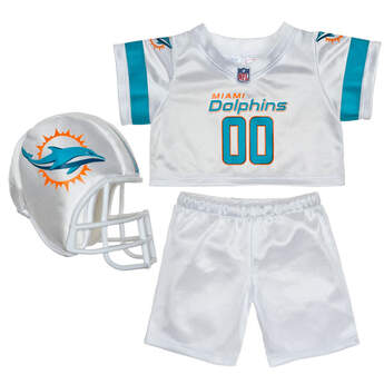 Teddy bear size Miami Dolphins NFL Fan Set complete with jersey, pants and soft helmet makes the perfect gift for Dolphins fans!© 2014 NFL Enterprises LLC. Team names/logos are trademarks of the teams indicated.
