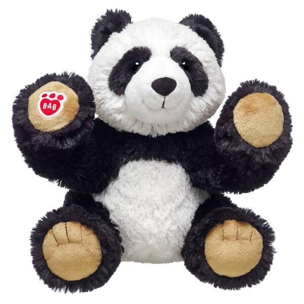 What's black and white and cute all over? This plush panda furry friend! The super cuddly plush panda has tan paw pads with the B-A-B logo on one paw.
