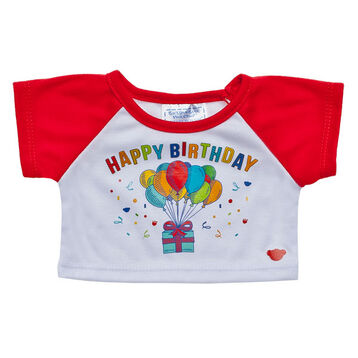 Happy Birthday! Celebrate your special day with a Red Happy Birthday T-Shirt for your furry friend. This baseball style tee has red sleeves and a Happy Birthday graphic with balloons and a present.