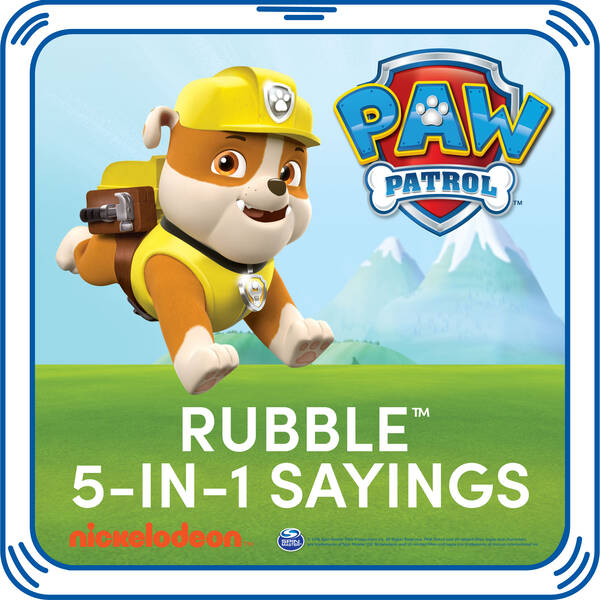 Rubble on the double! Add Rubble's signature sayings to your furry friend. This pup's playful phrases are the PAWfect addition to any PAW Patrol furry friend.© 2016 Spin Master PAW Productions Inc. All Rights Reserved. PAW Patrol and all related titles, logos and characters are trademarks of Spin Master Ltd. Nickelodeon and all related titles and logos are trademarks of Viacom International Inc.