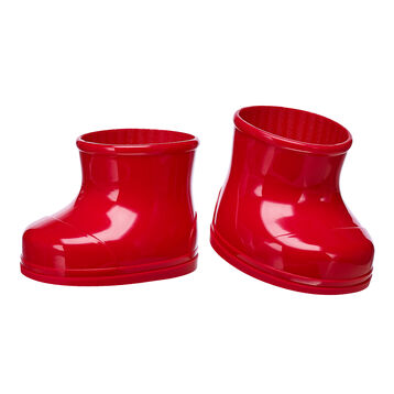 Keep your furry friend's paws warm and dry in any season with these shiny red rubber boots. This classic pair of boots for stuffed animals pairs perfectly with any outfit and adds a wonderful pop of color to your furry friend's look.