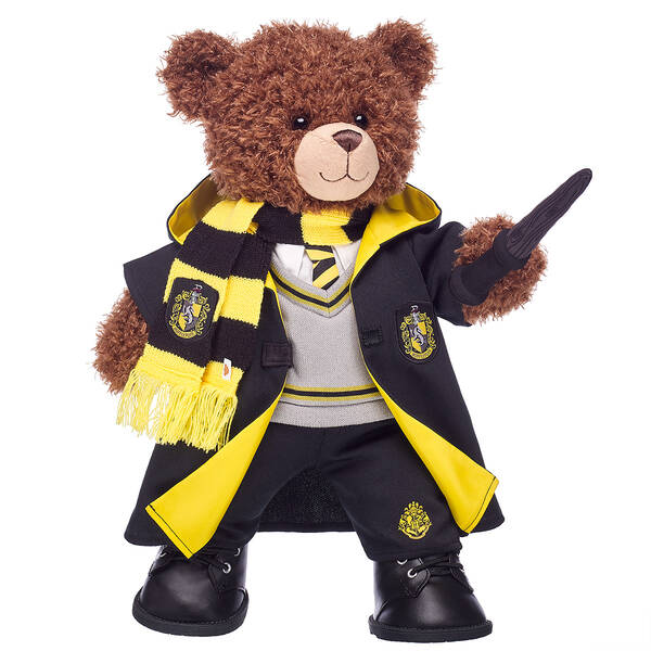 Harry Potter Bear Hufflepuff Gift Bundle with House Robe, Scarf, Hogwarts Pants & Wand, , hi-res