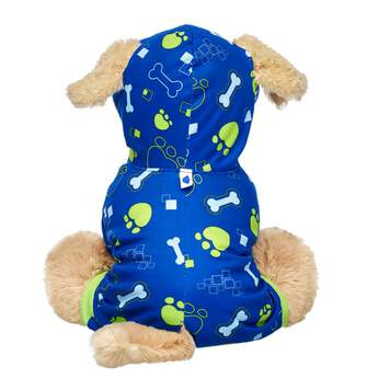 Your Promise Pet will be doggone cozy in this adorable printed sleeper! This blue stuffed animal sleeper made just right for Promise Pets has green trim and a bone and paw print design. It also features a hoodie and holes for their ears and tail! Care for your pet by adding this super cute look to your Promise Pets collection!