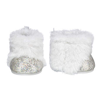 Sparkly White Boots for Stuffed Animals | Build-A-Bear®	These faux fur boots for stuffed animals have glitter on the toes to provide a stylish amount of sparkle. Personalize a furry friend to make the perfect gift. Free shipping on orders over $45. Shop online or visit a store near you!