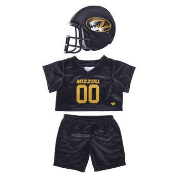 a4706ba272b This bear-sized University of Missouri football uniform comes with a plush  helmet, ...