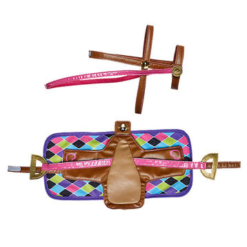 Horses & Hearts Riding Club Pink Geometric Saddle, Bridle & Blanket Set, , hi-res