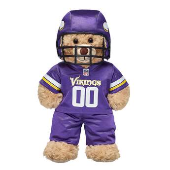 Tackle some fun! This teddy bear-sized Minnesota Vikings NFL Fan Set comes complete with jersey, pants and a soft helmet. It makes the perfect gift for Vikings fans! © 2018 NFL Enterprises LLC. Team names/logos are trademarks of the teams indicated.