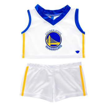 A must-have for any Warriors fan, this furry friend-sized uniform is perfect for hitting the court. With the team's trademark blue and gold colors and logo, this white uniform features a sleeveless shirt with matching shorts. Go Warriors! NBA and NBA team identifications are the intellectual property of NBA Properties, Inc. and the respective NBA member teams. é2017 NBA.