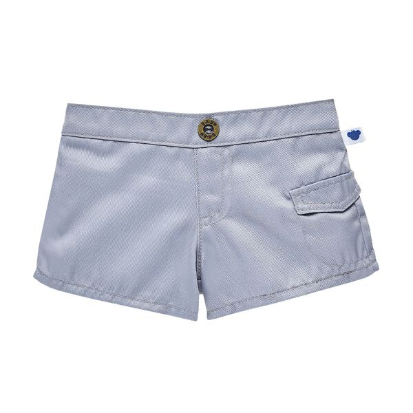 These classic grey cargo shorts go perfect with just about any look! Build-A-Bear Workshop offers hundreds of unique stuffed animal clothing & accessory.