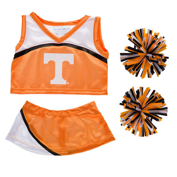 Dress your furry friend in this officially licensed University of Tennessee cheerleading uniform. Includes shirt, skirt and pom poms.