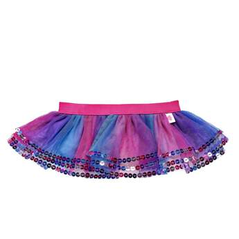 You can never have too many colors or sparkles, and this mutlicolor sequin tutu has plenty of them both! The tulle tutu is a pretty blend of blue, pink and purple colors with a bright pink waistband. An array of sequins adorns the trim of the skirt for an added touch of glamour!