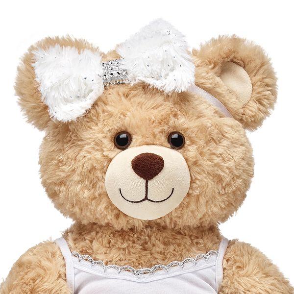 Honey Girls White Fur Bow Headband, , hi-res