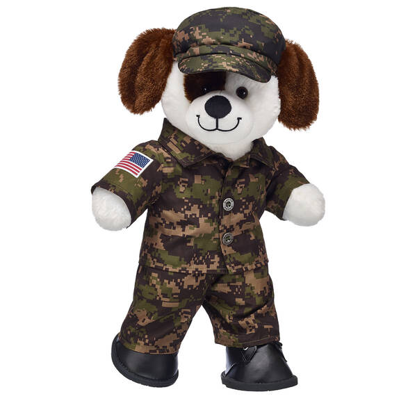 his lovable plush pooch is a pure classic! Fetch some affection for the Ruff n' Tumble Stuffed Puppy, with its soft white fur with brown spots and the B-A-B pawprint on its paw. Add personality to the web-only stuffed puppy with clothing, accessories and sounds.