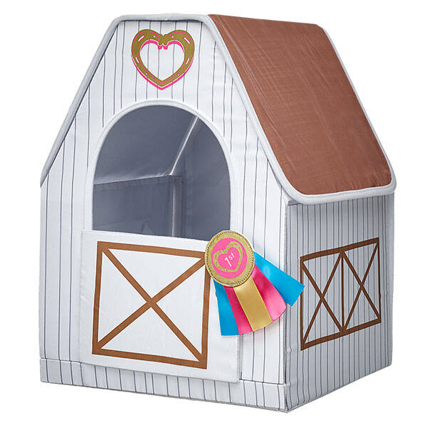 Give your horse a great place to live in their own Toy Horse Stable. This pretty white Toy Horse Stable has a first place ribbon on the door.