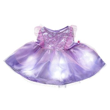 This sparkly purple dress for stuffed animals has a special light-up feature that creates a twinkling effect. Outfit a plush to make the perfect gift.