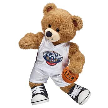 Fly to hoops glory in this official NBA New Orleans Pelicans uniform made to fit furry friends. Transform your furry friend into a Pelicans basketball star, or outfit a bear to give to a special Pelicans fan. The white home uniform features accents on the sides and the New Orleans Pelicans logo. The NBA and NBA team identifications are the intellectual property of NBA Properties, Inc. and the respective NBA member teams. © 2016 NBA Properties, Inc. All Rights Reserved.